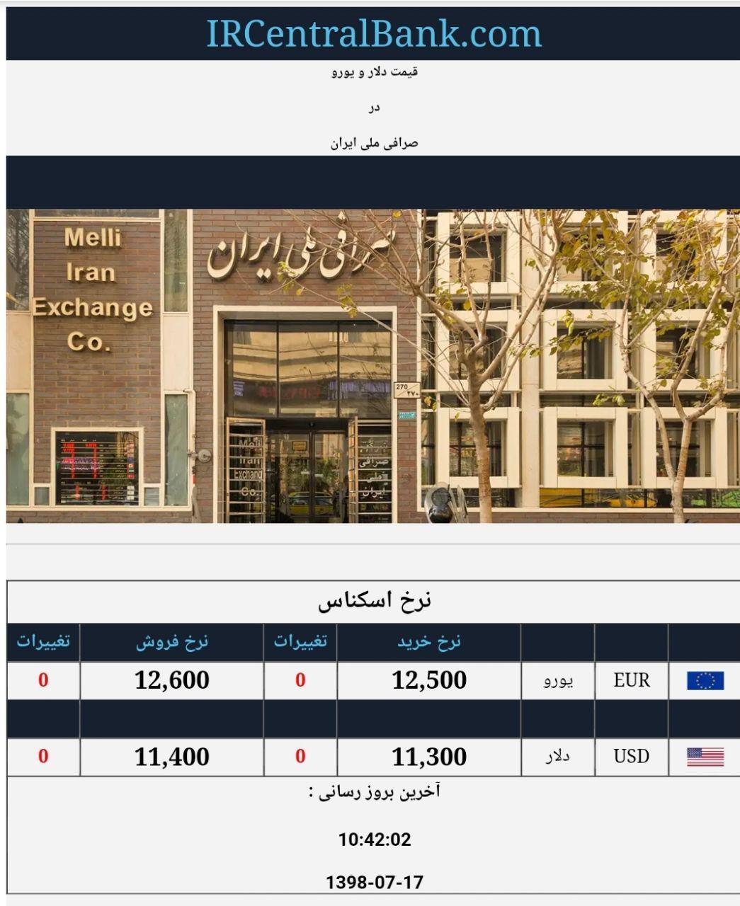 قیمت دلار و یورو در صرافی ملی امروز 17 مهر 98