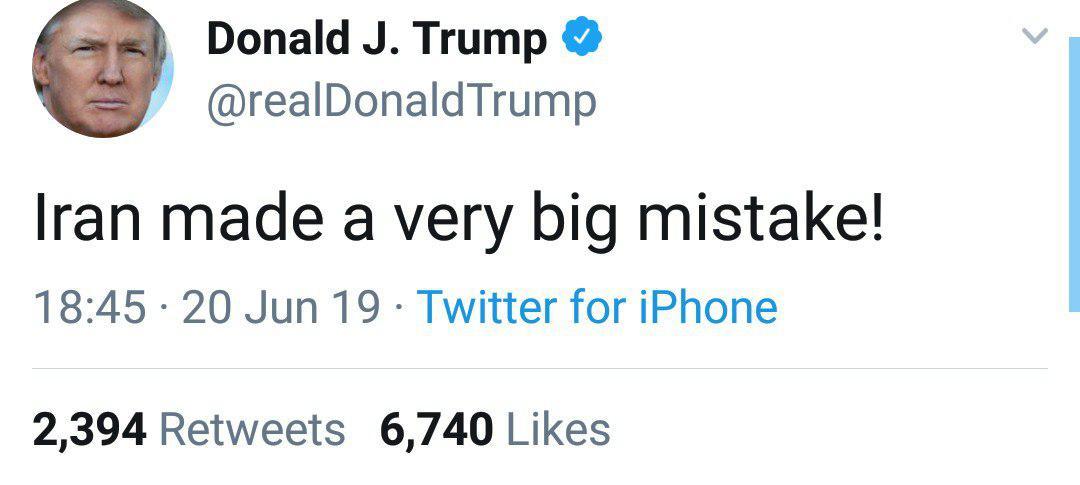 توییت ترامپ درباره سقوط پهپاد آمریکا