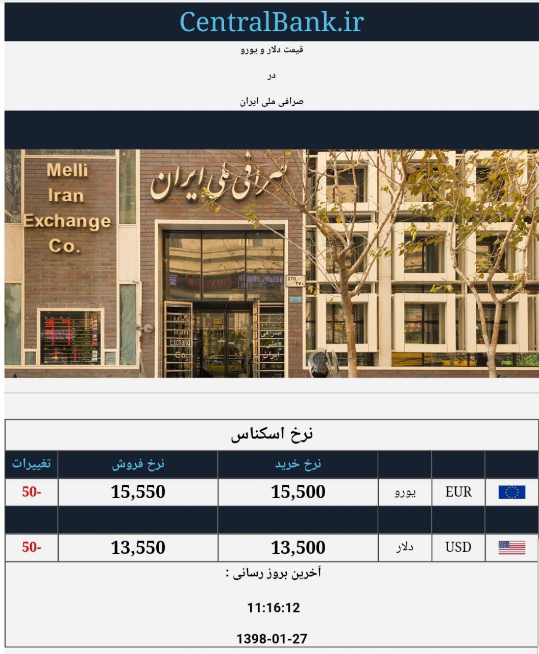 قیمت دلار و یورو در صرافی ملی امروز ۱۳۹۸/۰۱/۲۷