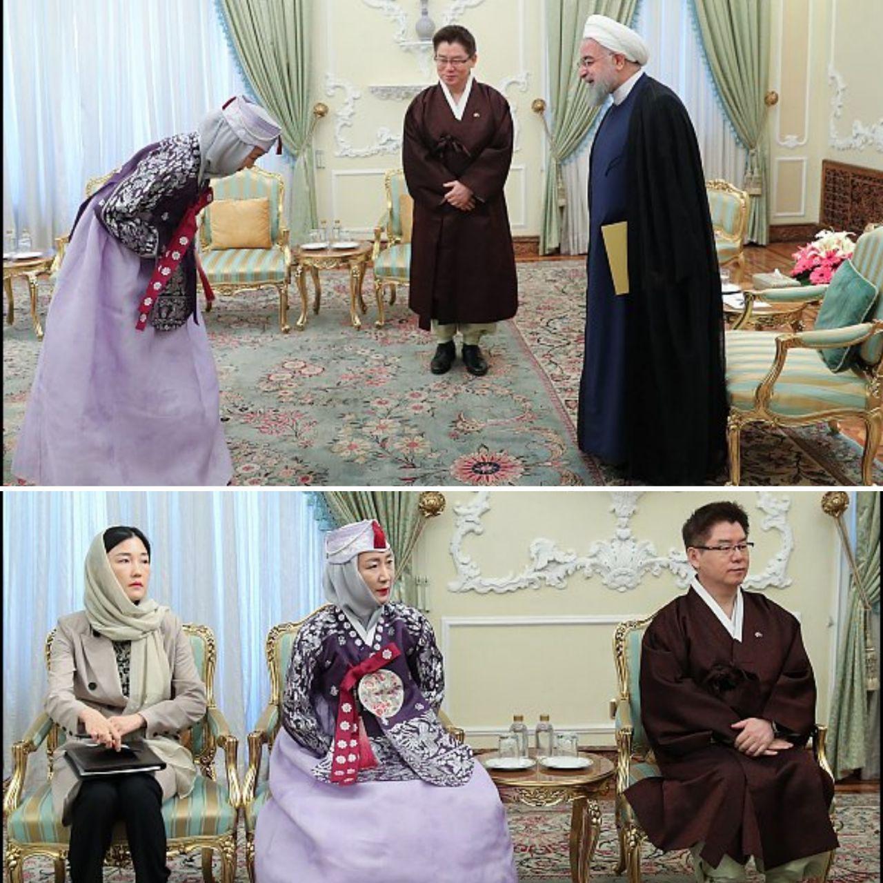 پوشش جالب سفیر کره جنوبی و همسرش در دیدار با روحانی