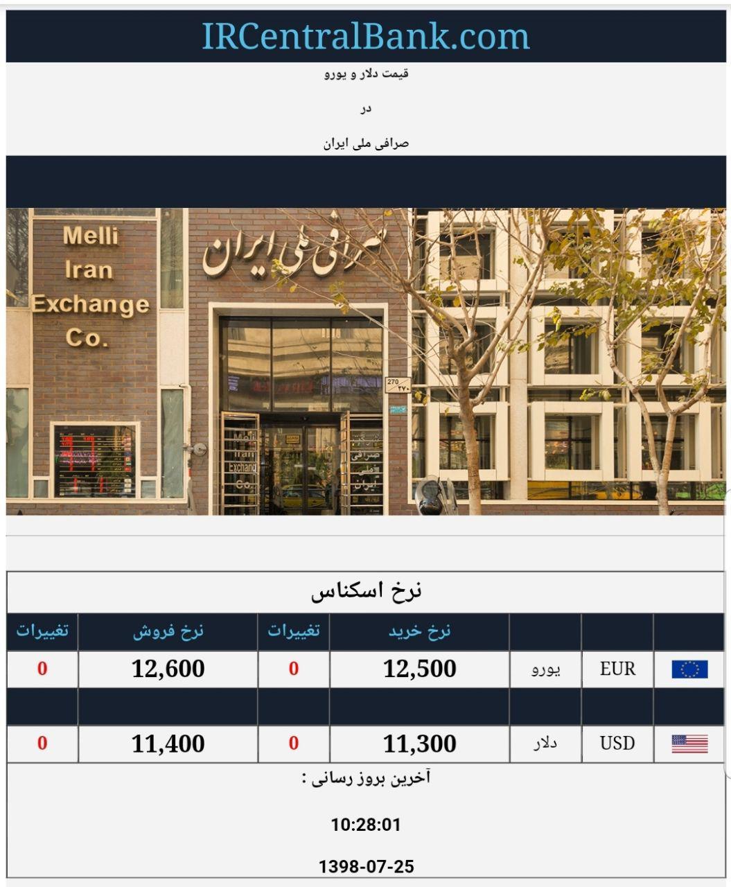 قیمت دلار و یورو امروز 25 مهر 98