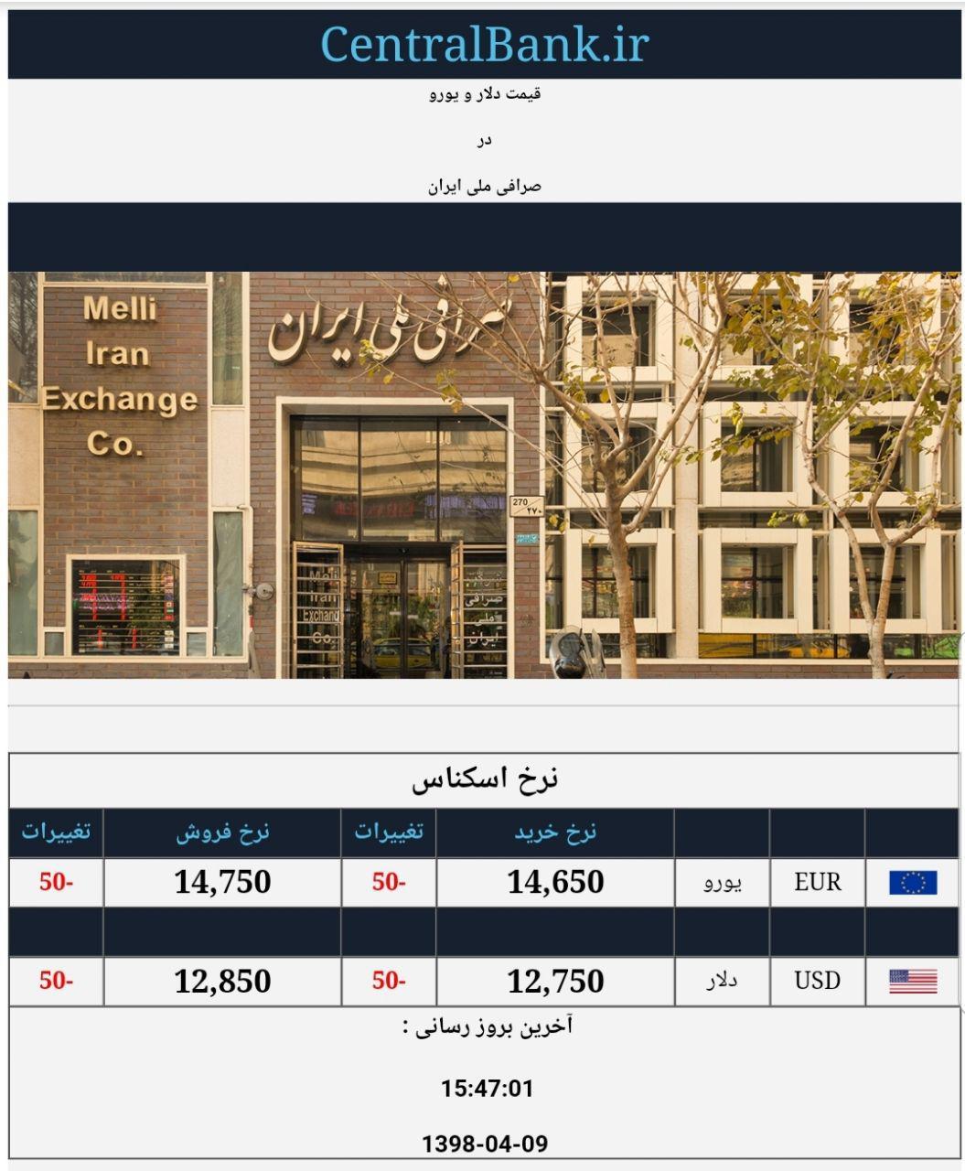 قیمت دلار و یورو در صرافی ملی امروز 9 تیر