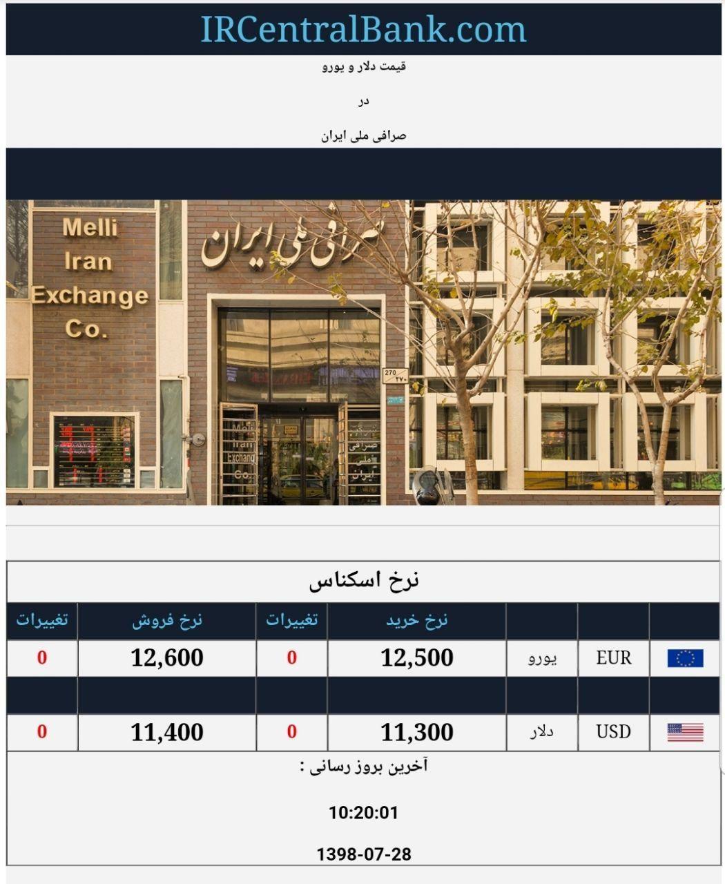قیمت دلار و یورو در صرافی ملی امروز ۱۳۹۸/۰۷/۲۸