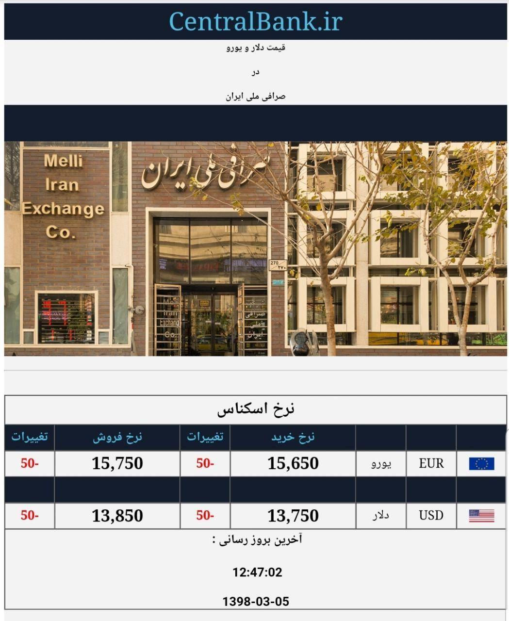 قیمت دلار و یورو در صرافی ملی امروز ۱۳۹۸/۰۳/۰۵