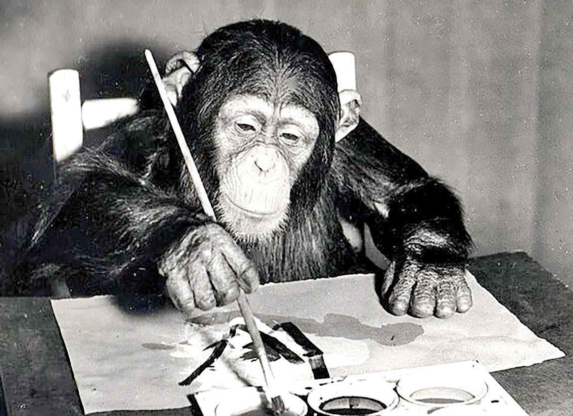 مزایده تابلوهای نقاشی شامپانزه هنرمند!