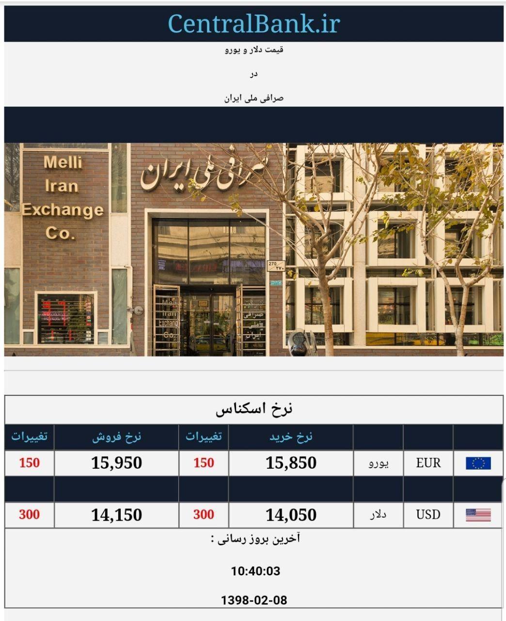 قیمت دلار و یورو در صرافی ملی امروز  ۱۳۹۸/۰۲/۰۸
