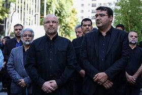 محمد باقر قالیباف در مراسم تشییع پیکر مهدی شادمانی خبرنگار ورزشی