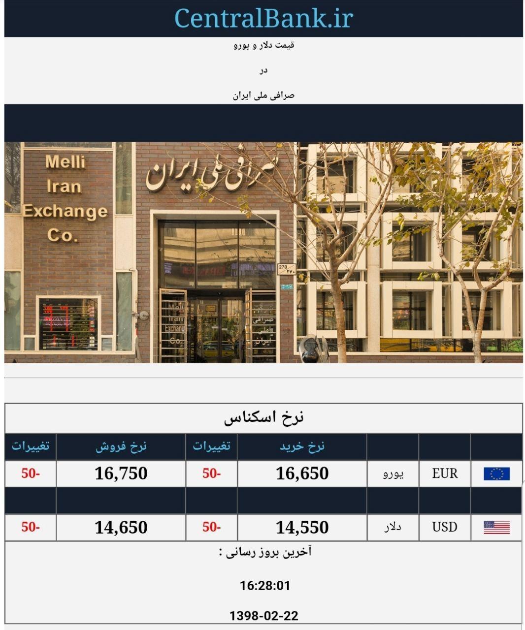 قیمت دلار و یورو در صرافی ملی امروز ۱۳۹۸/۰۲/۲۲