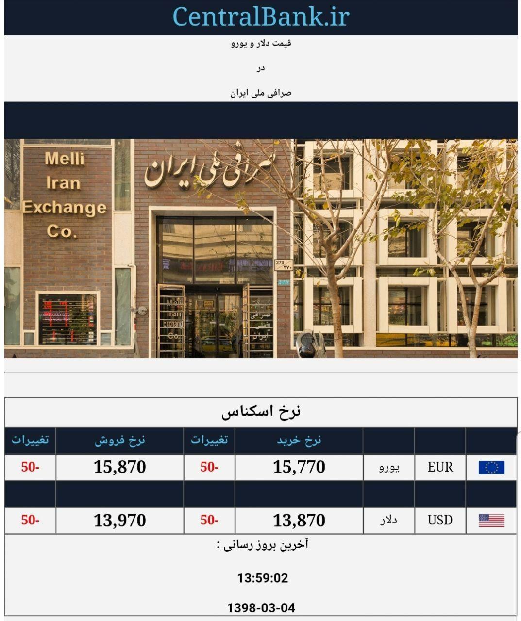 قیمت دلار و یورو در صرافی ملی امروز ۱۳۹۸/۰۳/۰۴