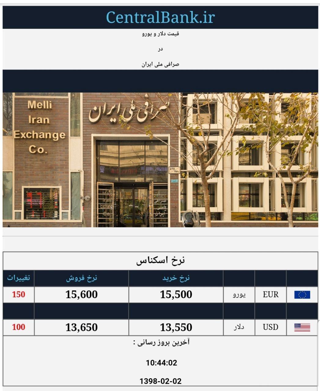 قیمت دلار و یورو در صرافی ملی امروز ۱۳۹۸/۰۲/۰۲