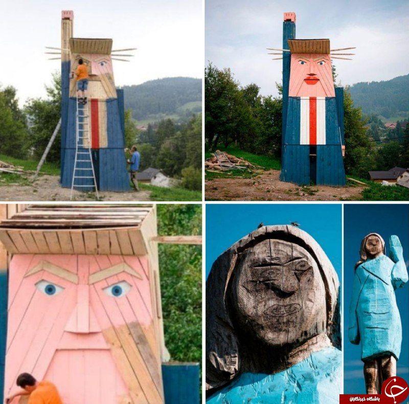 ساخت مجسمه چوبی مضحک ترامپ در زادگاه ملانیا + تصاویر