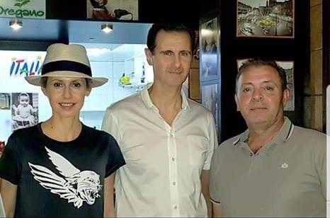 رئیس جمهوری سوریه به همراه خانوادهاش از رستورانی