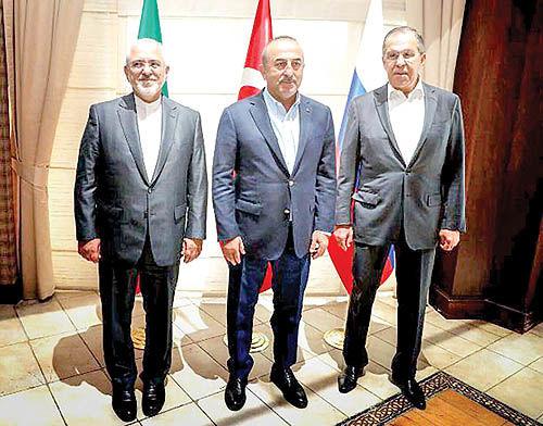 رایزنی وزرای خارجه ایران، روسیه و ترکیه در آنتالیا