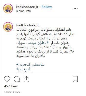 دعوت سخنگوی شورای نگهبان از بازیگر زن سینما جهت نظارت بر انتخابات مجلس98